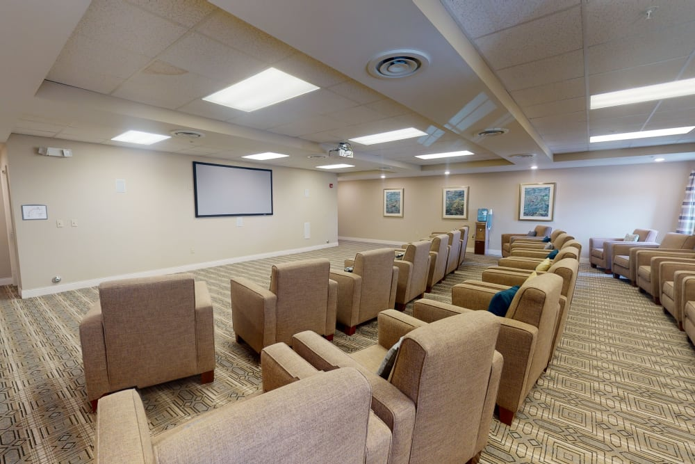 Movie theater at Harmony at Harbour View in Suffolk, Virginia