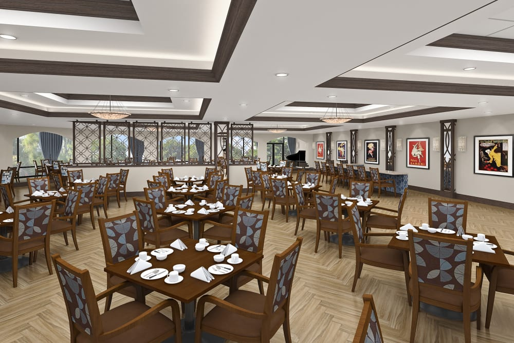 Rendering of restaurant style dining at Seasons Memory Care at Rolling Hills in Torrance, California.
