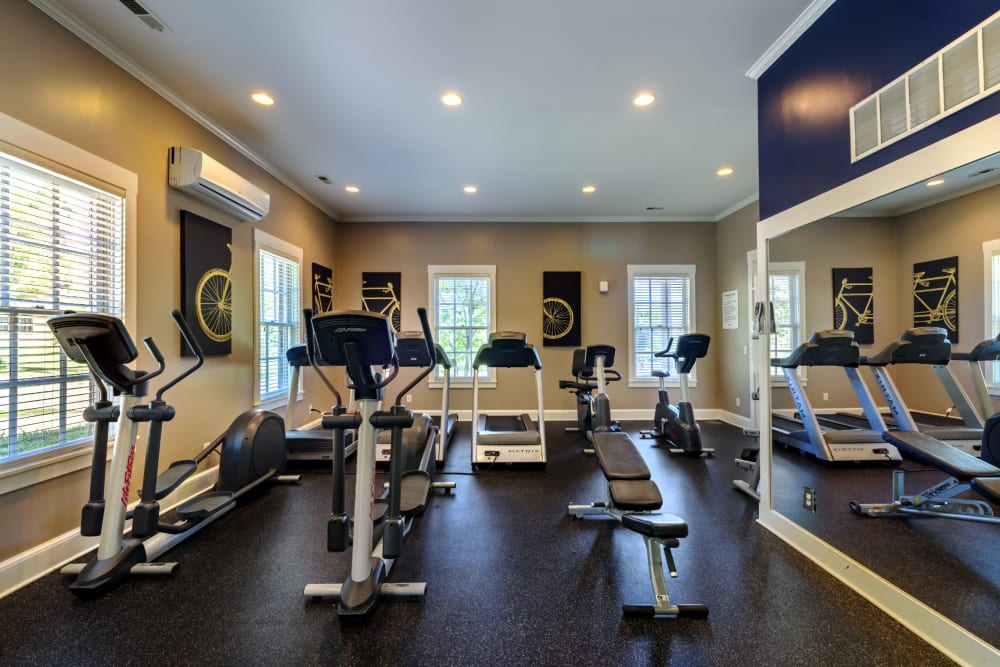 Cardio room at gym at Christopher Wren Apartments & Townhomes in Wexford, Pennsylvania