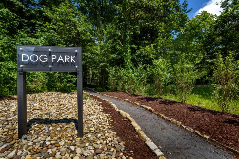 Sign to dog park at Christopher Wren Apartments & Townhomes in Wexford, Pennsylvania