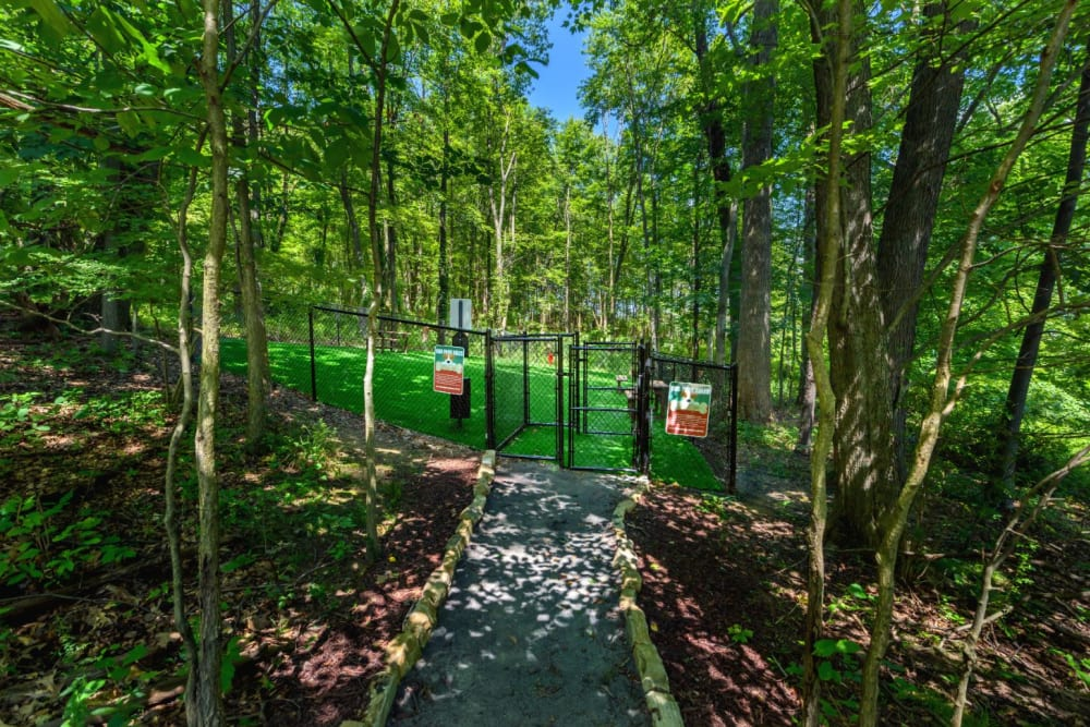 Entrance to dog park at Christopher Wren Apartments & Townhomes in Wexford, Pennsylvania