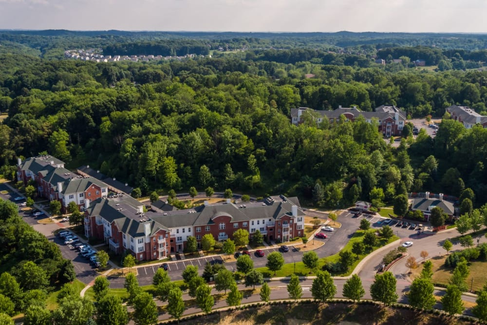 Luscious trees and scenery surrounding Christopher Wren Apartments & Townhomes in Wexford, Pennsylvania