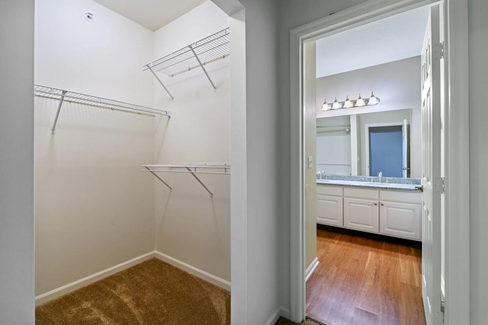 Large closet with lots of storage space at Christopher Wren Apartments & Townhomes in Wexford, Pennsylvania