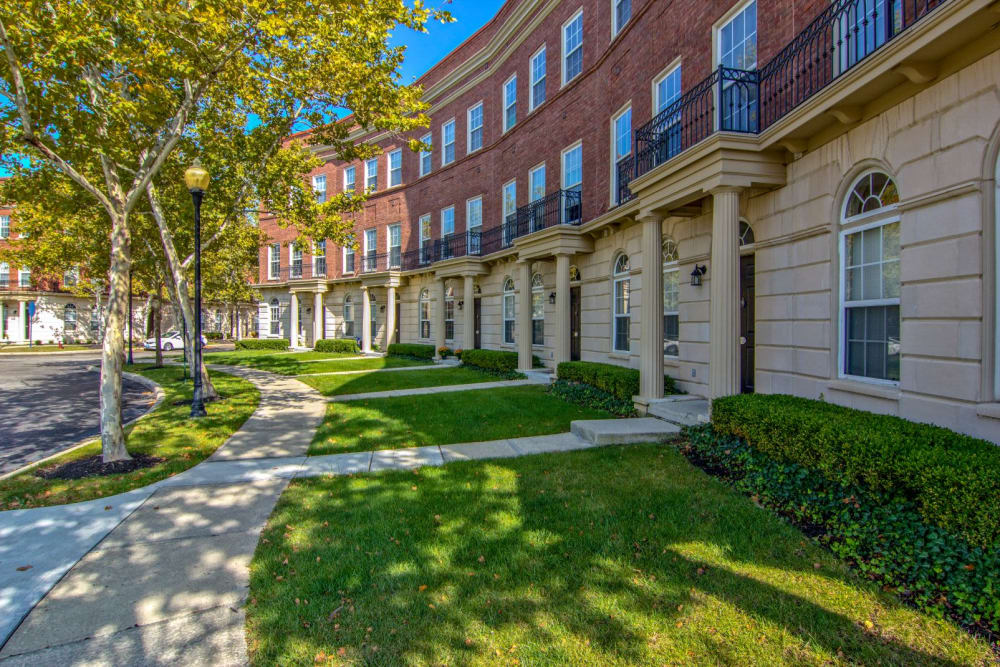 Walkway next to building at Easton Commons Apartments & Townhomes in Columbus, Ohio