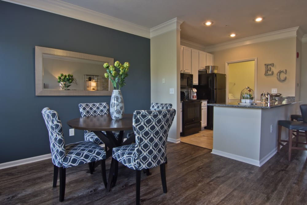 Dining area next to kitchen at Easton Commons Apartments & Townhomes in Columbus, Ohio
