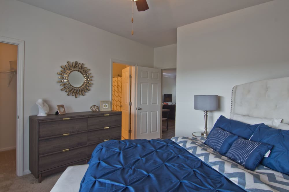 Furnished bedroom at Easton Commons Apartments & Townhomes in Columbus, Ohio