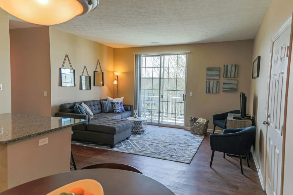 Living room and door to patio at The Preserve at Beckett Ridge Apartments & Townhomes in West Chester, Ohio