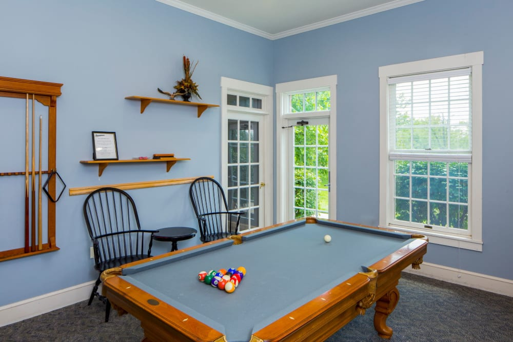 Billiards table in clubhouse at The Preserve at Beckett Ridge Apartments & Townhomes in West Chester, Ohio