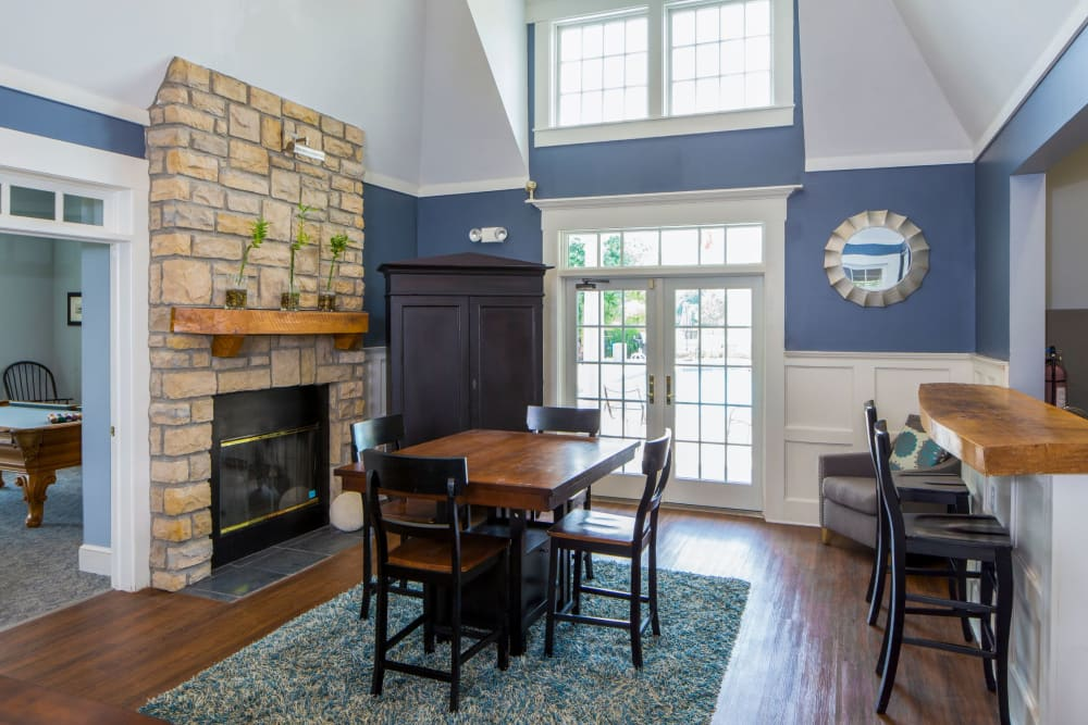 Clubhouse table and bar at The Preserve at Beckett Ridge Apartments & Townhomes in West Chester, Ohio