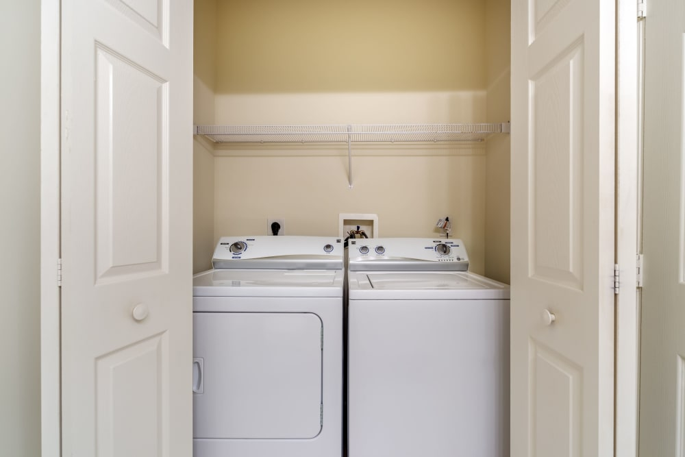 Washer and dryer in unit at The Waterfront Apartments & Townhomes in Munhall, Pennsylvania