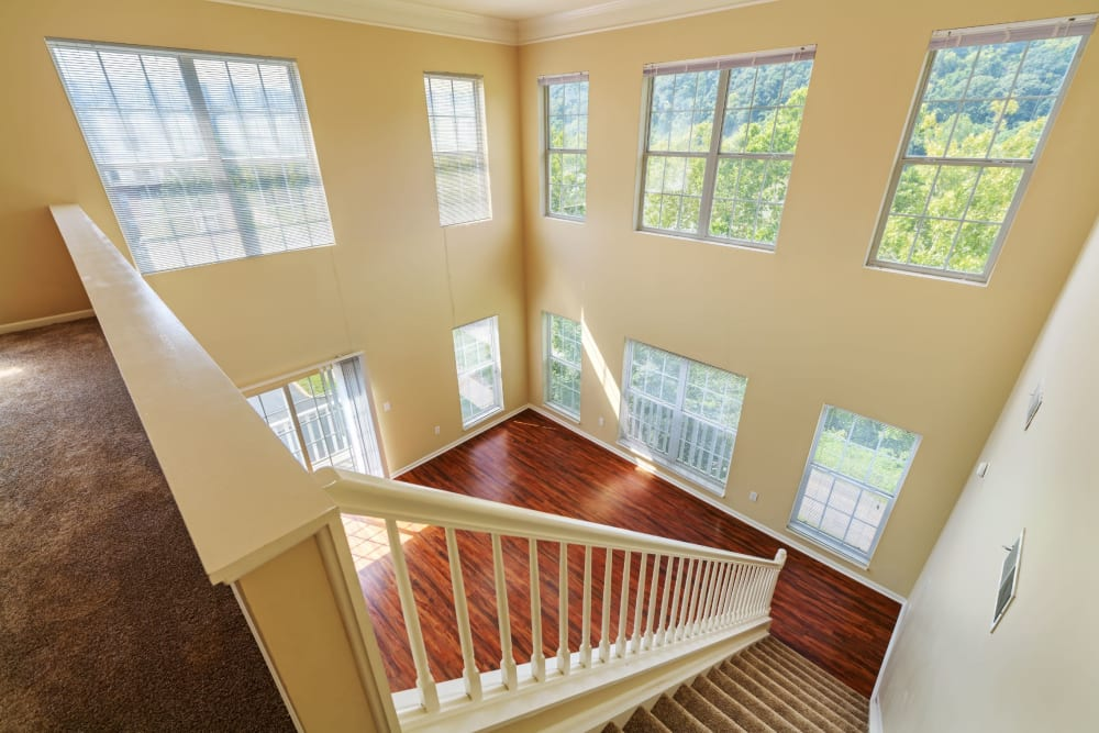Very high ceilings with lots of natural light at The Waterfront Apartments & Townhomes in Munhall, Pennsylvania