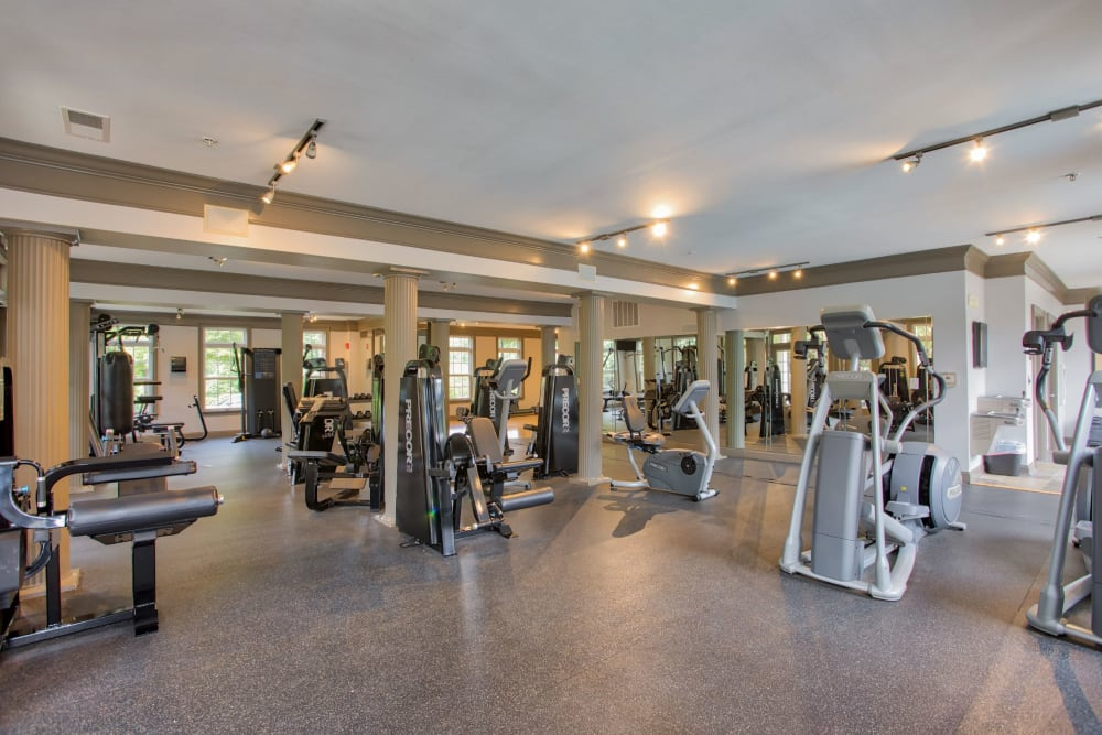 Fitness center at Worthington Apartments & Townhomes in Charlotte, North Carolina