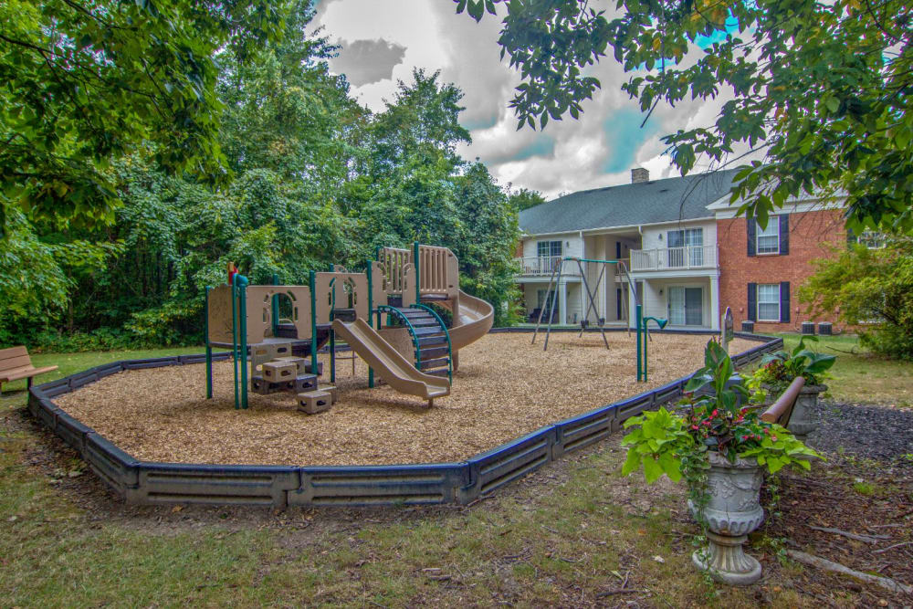 Playground at park in Westerville, Ohio at The Woods at Polaris Parkway Apartments & Townhomes