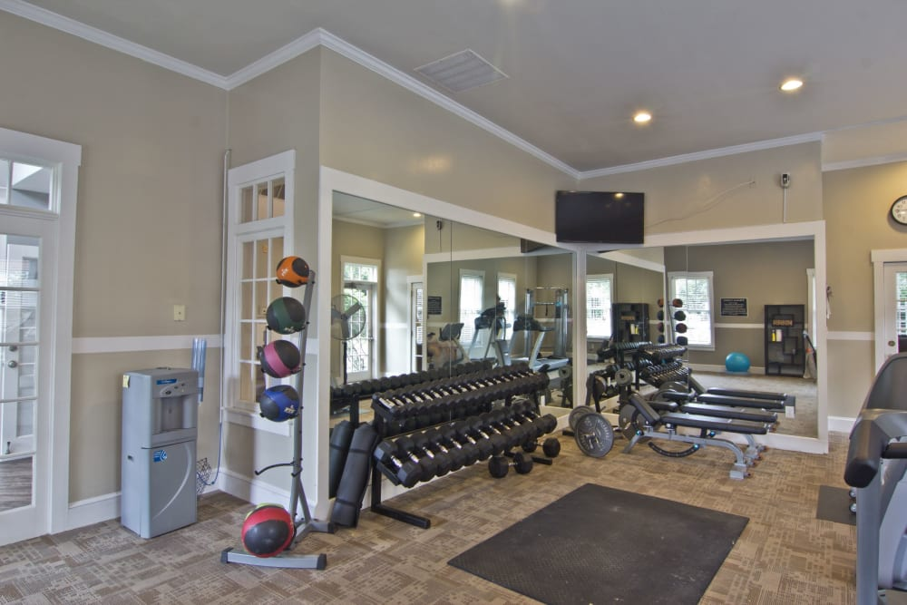 Workout room at The Woods at Polaris Parkway Apartments & Townhomes in Westerville, Ohio