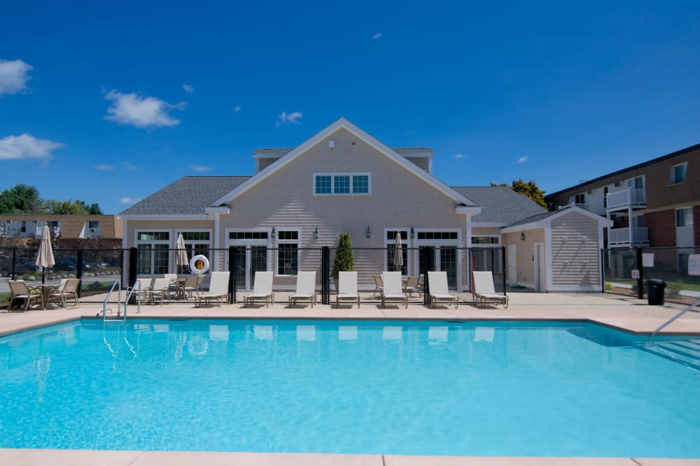Sparkling swimming pool at Park Village West in Westborough, Massachusetts