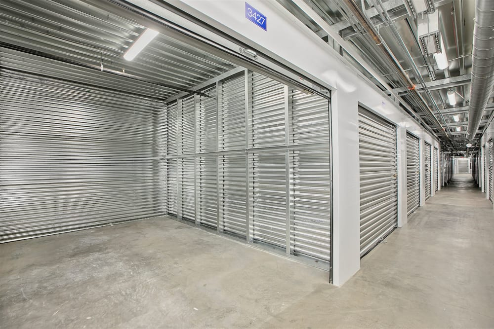 Large indoor storage units at Pac-It-Away Storage in San Diego, California