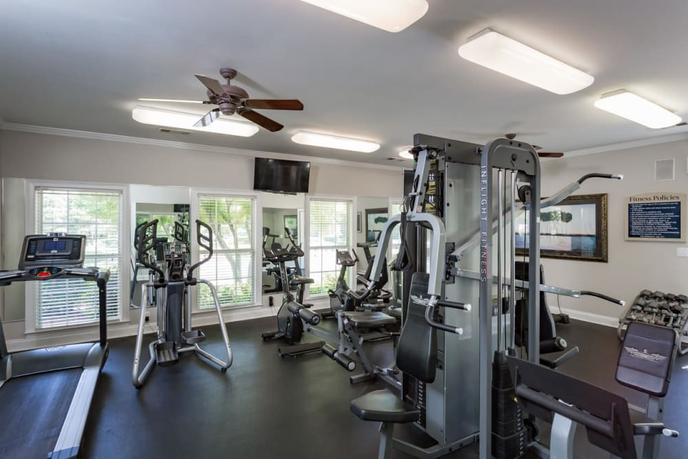 Well-equipped fitness center at The Vinings at Newnan Lakes in Newnan, Georgia