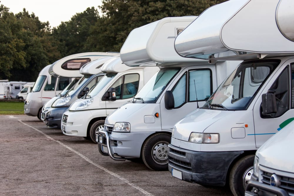 RVs parked for storage at Canby RV & Boat Storage in Canby, Oregon