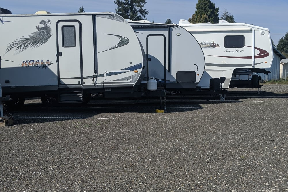 RVs stored at Capitol City Storage in Olympia, Washington