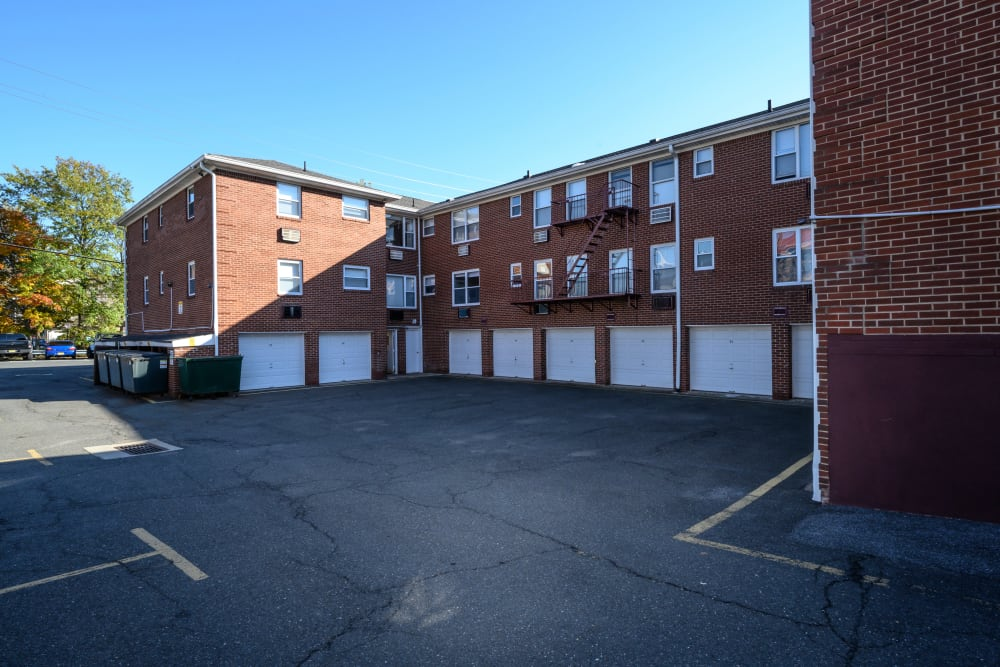 Private garages under apartments at Lafayette Park Apartments in Hawthorne, New Jersey