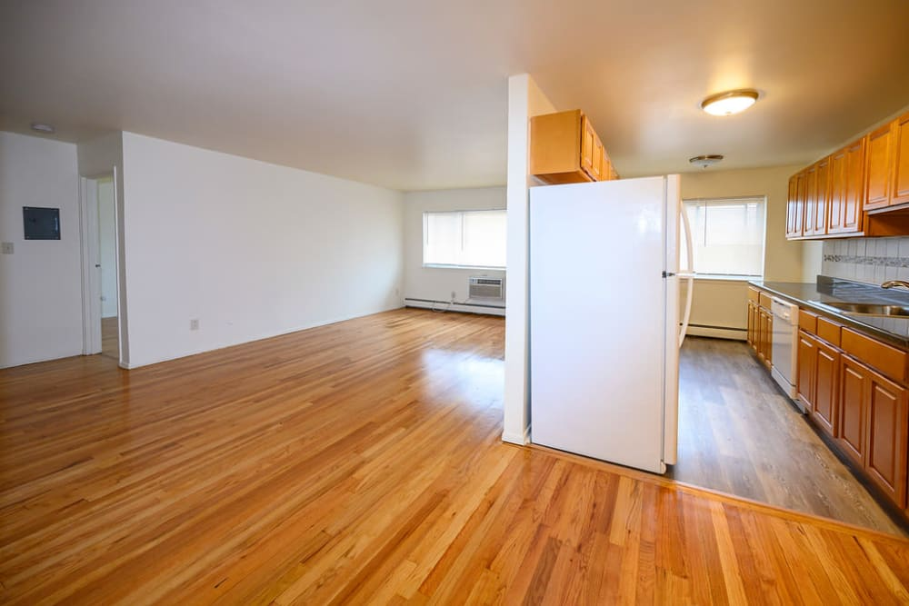 Kitchen and living room at Rutgers Court Apartments in Belleville, New Jersey