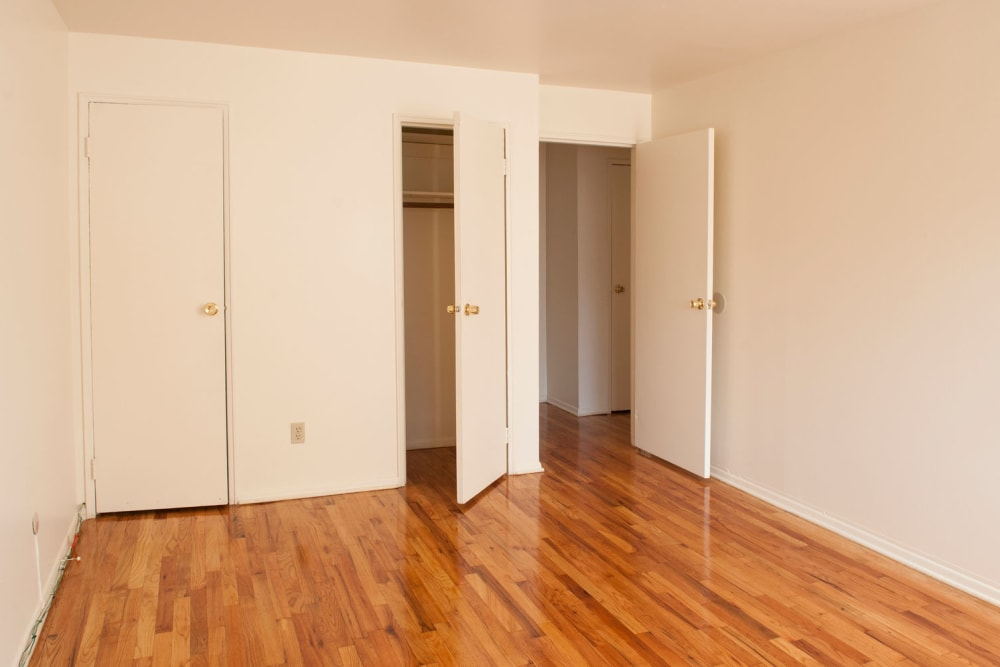 Closets for extra storage in bedrooms at Rutgers Court Apartments in Belleville, New Jersey