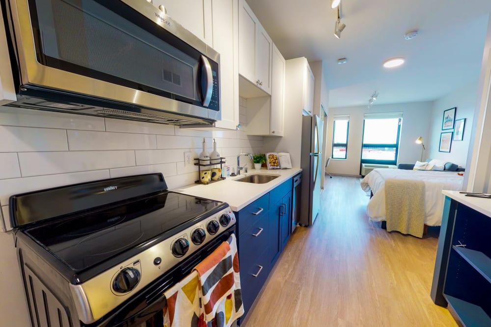 View of the kitchen at HERE Minneapolis in Minneapolis, Minnesota