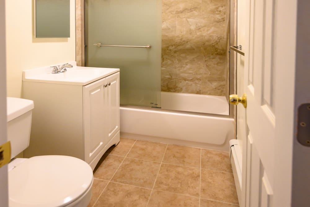 Tile floors in bathroom at Rutgers Court Apartments in Belleville, New Jersey