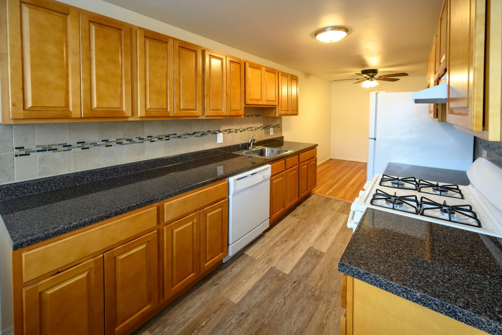 Ample kitchen countertop space at Rutgers Court Apartments in Belleville, New Jersey