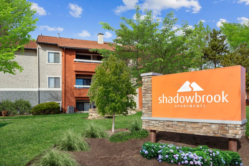 Front monument sign at Shadowbrook Apartments in West Valley City, Utah