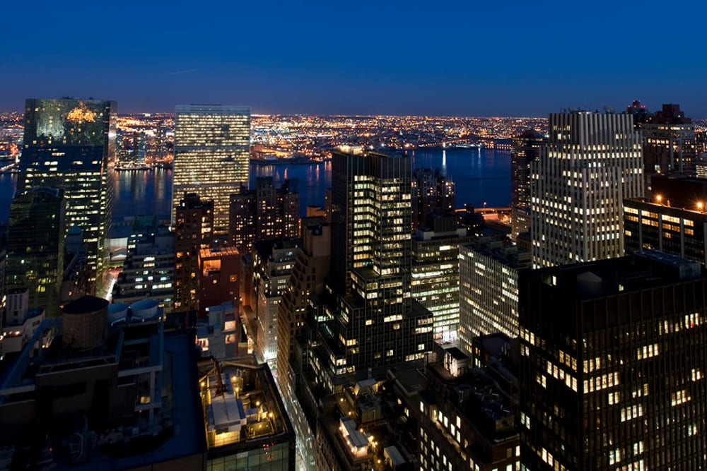 A view of the city lights at night from The Metropolis in New York, New York