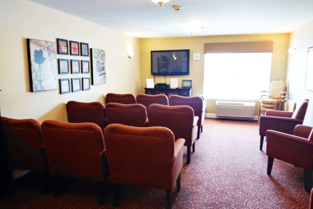 Movie room at Woodside Senior Living in Springfield, Oregon