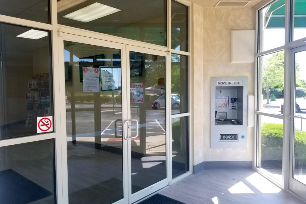 Front door to the office at Global Self Storage in McCordsville, Indiana