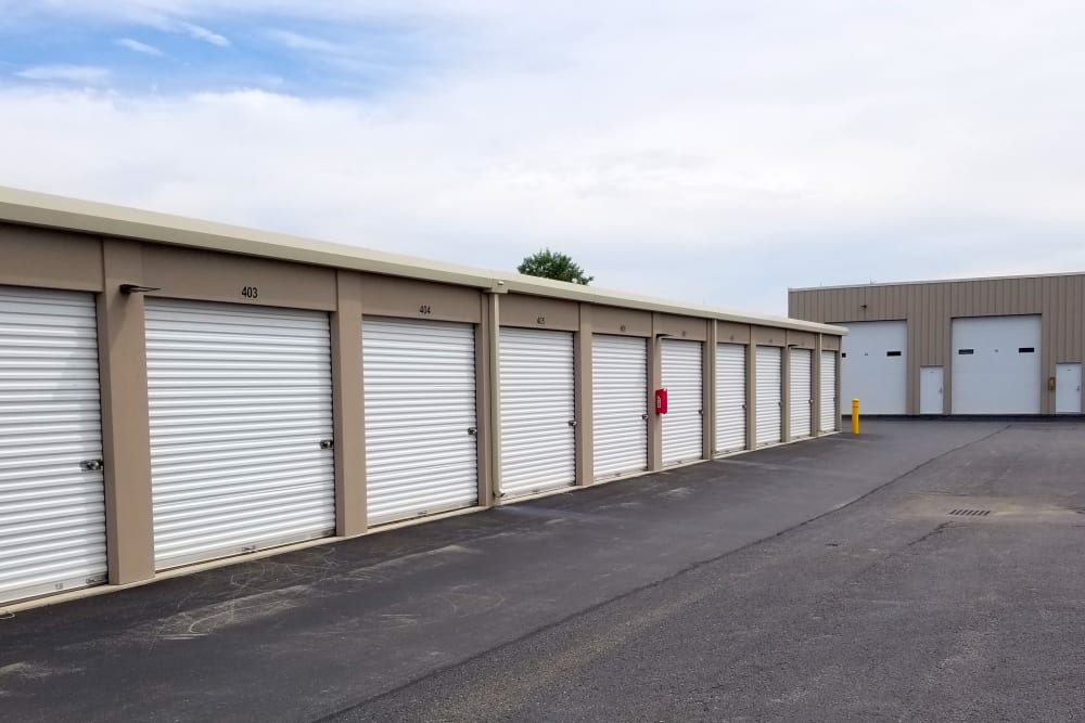Row of exterior storage units at Global Self Storage in McCordsville, Indiana
