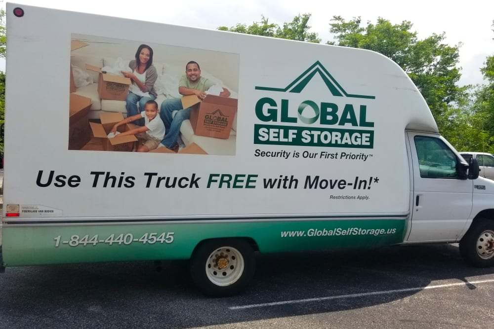 Moving truck at Global Self Storage in McCordsville, Indiana