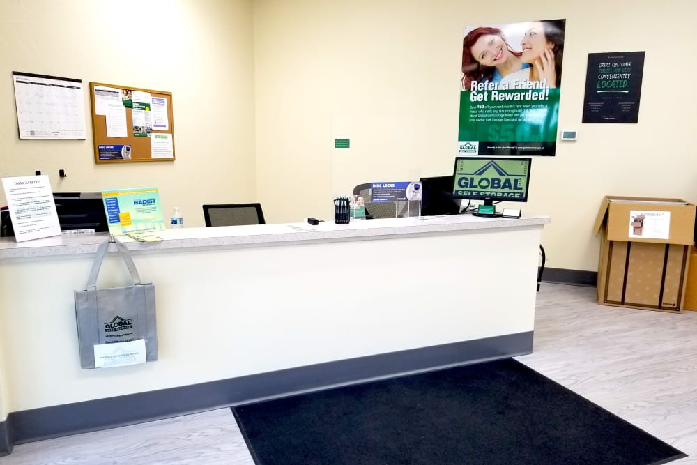 The front desk at Global Self Storage in McCordsville, Indiana