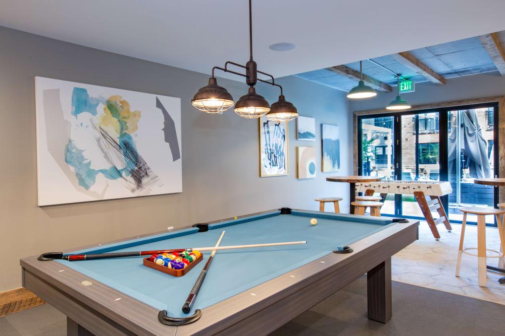 Billiards table in 511 Meeting's game room in Charleston, South Carolina