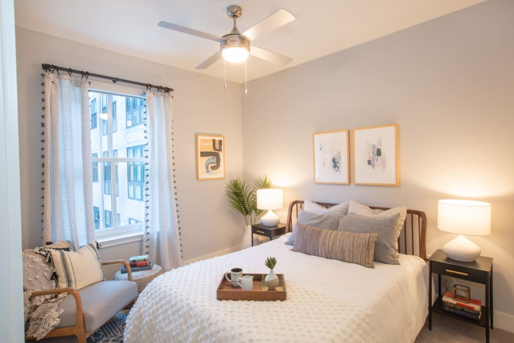 Bedroom with a ceiling fan at 511 Meeting in Charleston, South Carolina