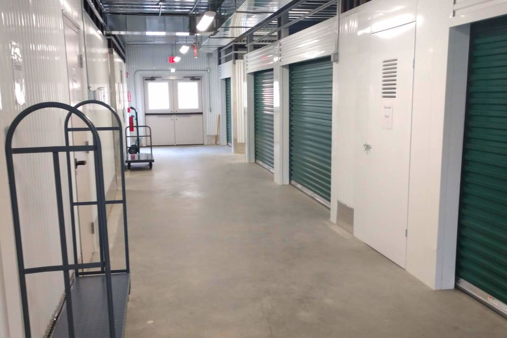 Row of interior storage units at Global Self Storage in Millbrook, New York