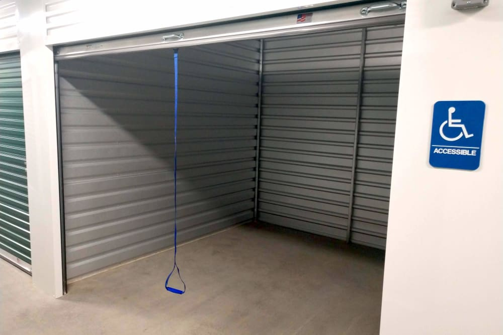 An open storage unit at Global Self Storage in Millbrook, New York