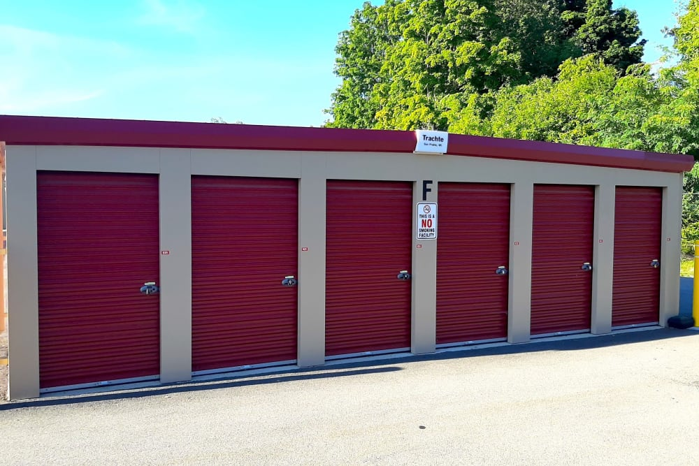 Row of exterior storage units at Global Self Storage in West Henrietta, New York