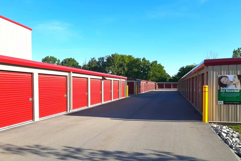 Row of outdoor storage units at Global Self Storage in West Henrietta, New York