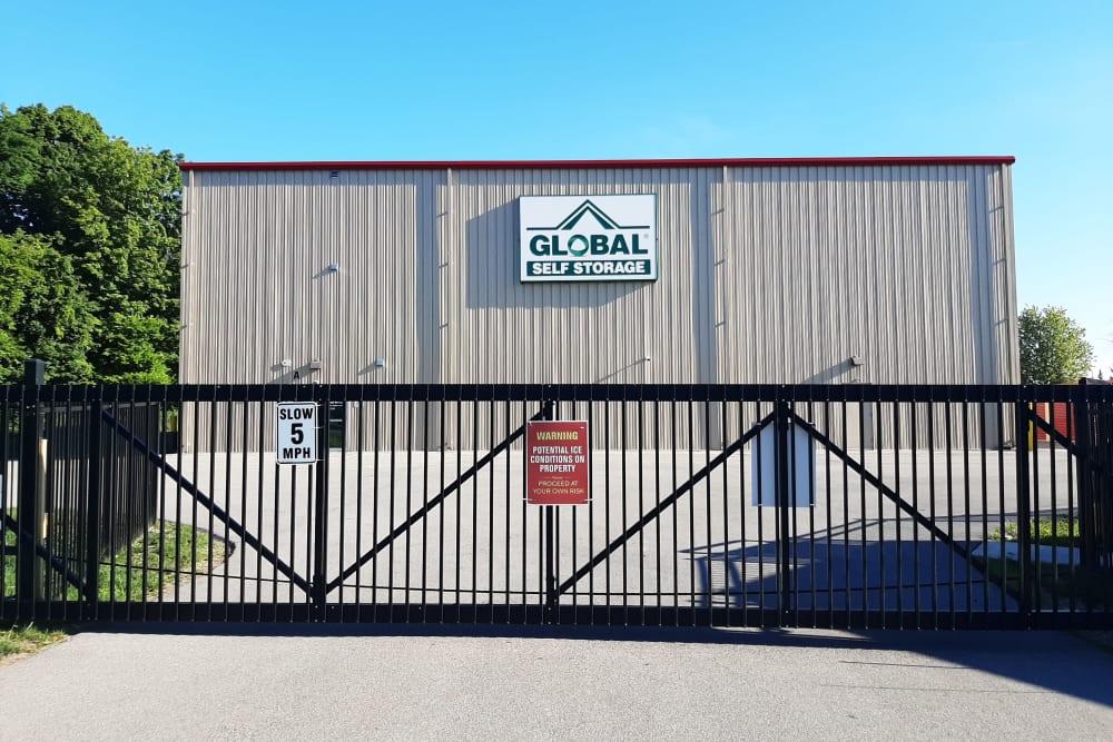 Security gate at Global Self Storage in West Henrietta, New York