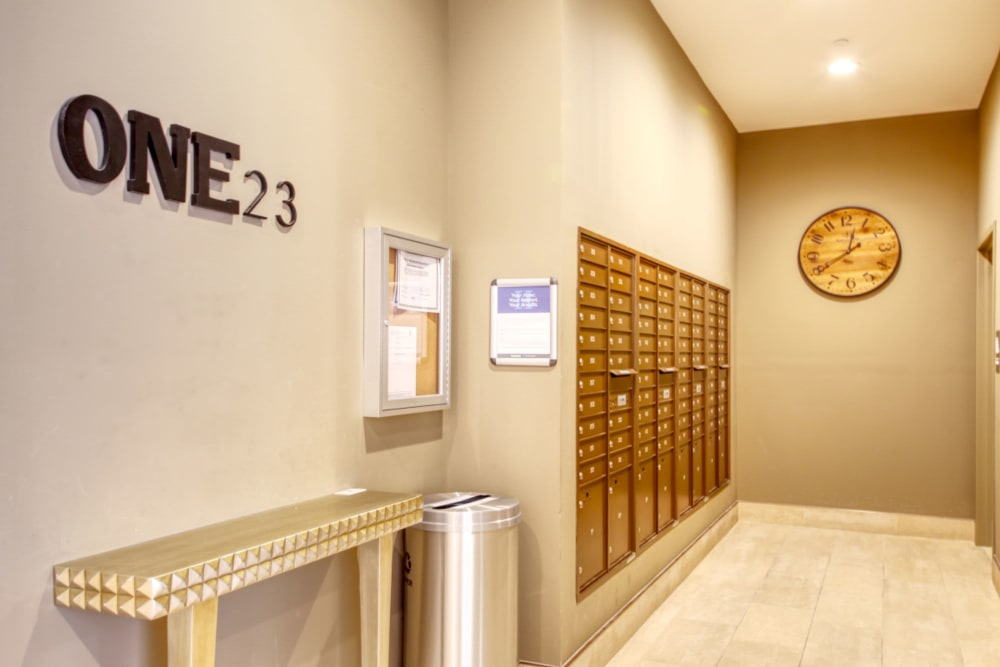 Mailboxes at ONE23 Apartments in Union City, New Jersey