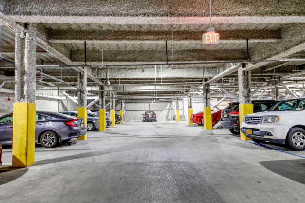 Secure parking garage at ONE23 Apartments in Union City, New Jersey