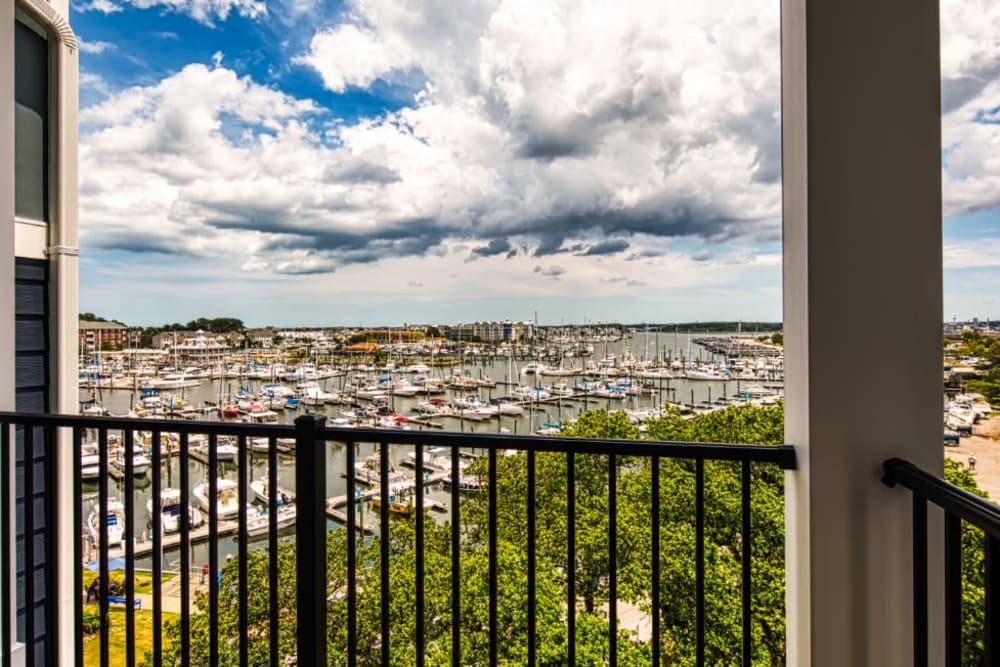 Balcony with a view at Marina Villa in Norfolk, Virginia