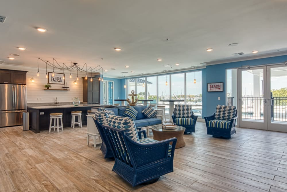 An expansive clubhouse with a view of the harbor at Marina Villa in Norfolk, Virginia