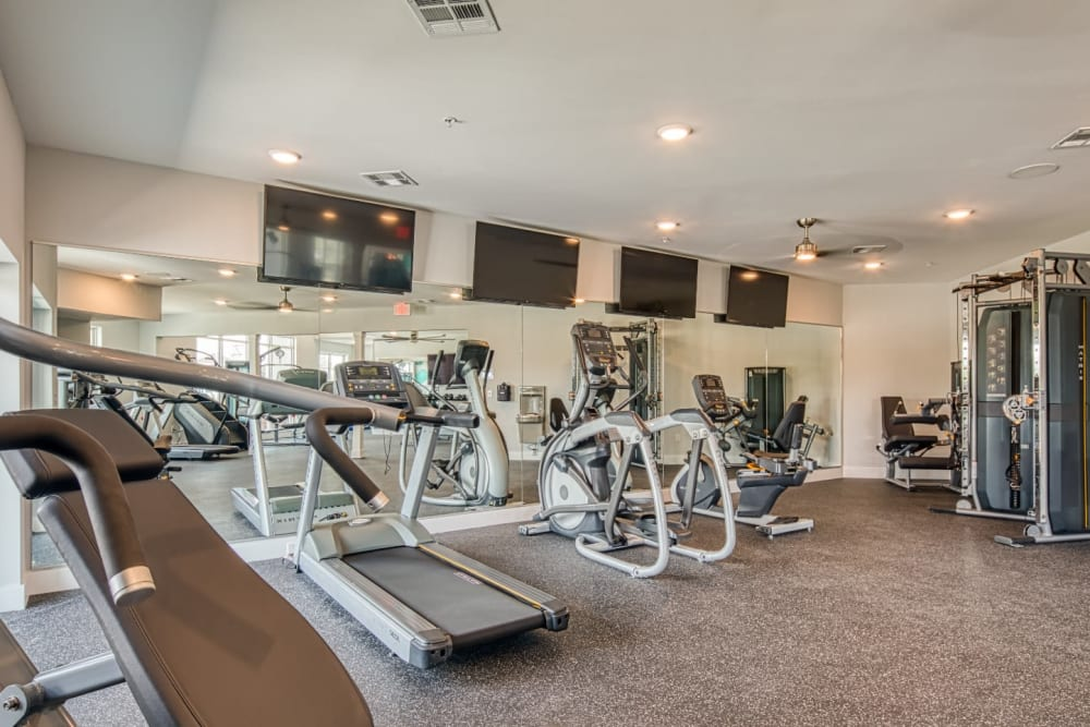A fitness center with plenty of individual workout stations at Marina Villa in Norfolk, Virginia