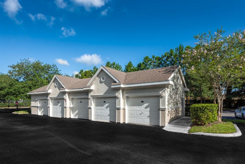 Private garages at Eddison at Deerwood Park in Jacksonville, Florida