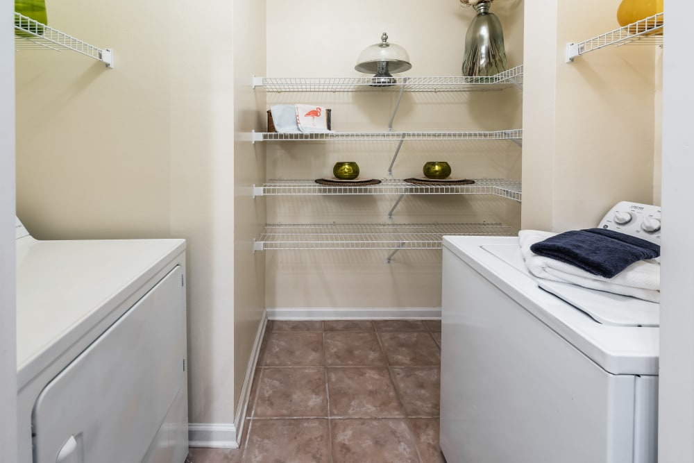 Washer and dryer in unit at Eddison at Deerwood Park in Jacksonville, Florida